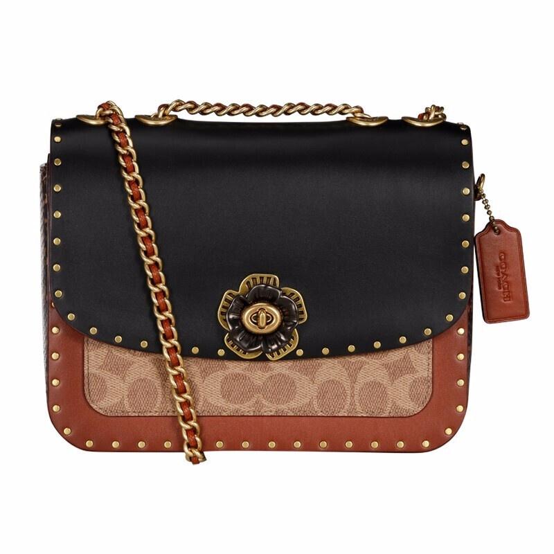 กระเป๋าผู้หญิง COACH  กระเป๋า MADISONชุดผ้าเคลือบใบเรือพร้อมกระเป๋าสะพายไหล่สะพายโซ่ หมุด Camellia แพคเกจ 4679 B4NQ4 สีส