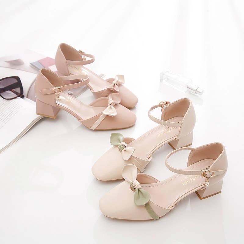 รองเท้าส้นสูงไซส์ใหญ่!รองเท้าคัชชู!รองเท้าส้นสูงมือสอง! รองเท้าแตะผู้หญิง 2020 ใหม่ส้นหนาส้นสูงกับกระโปรงส้นสูงรองเท้าเดี่ยวส้นต่ำส้นต่ำ Baotou สไตล์นางฟ้า