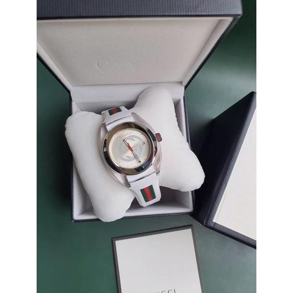 🦋สินค้าพร้อมส่ง🦋  New🍥 Gucci Sync  YA137102 Watch Quartz Silver Dial Date Rubber 45 mm สวย หรู ราคาดีมากก