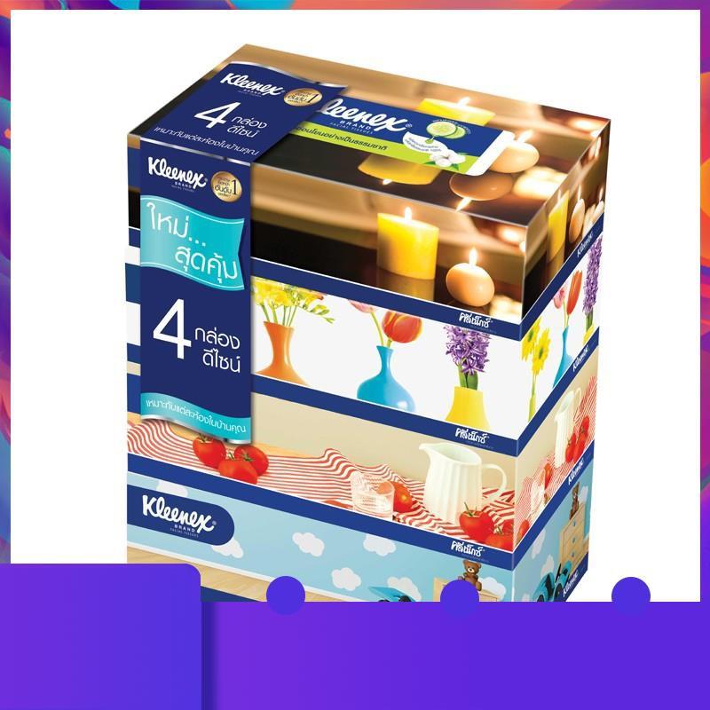 ♥♥♥ Kleenex กระดาษทิชชู่เช็ดหน้า รูมดีไซน์ แบบกล่อง 110 แผ่น รวม 4 กล่อง