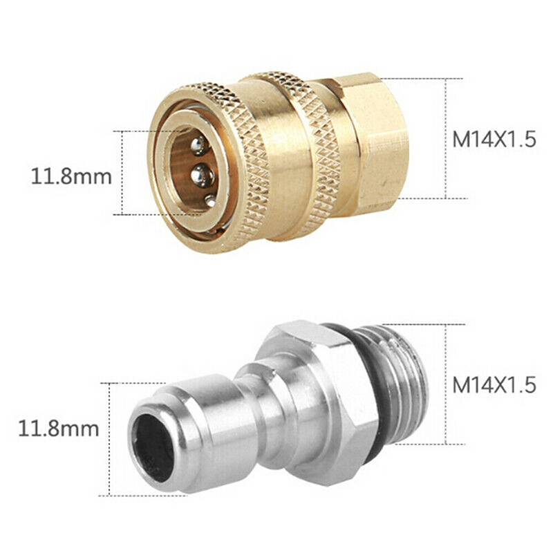 Stainless Steel Connector Pair 1//4 Male M22//14 Female Plug Convenient Useful