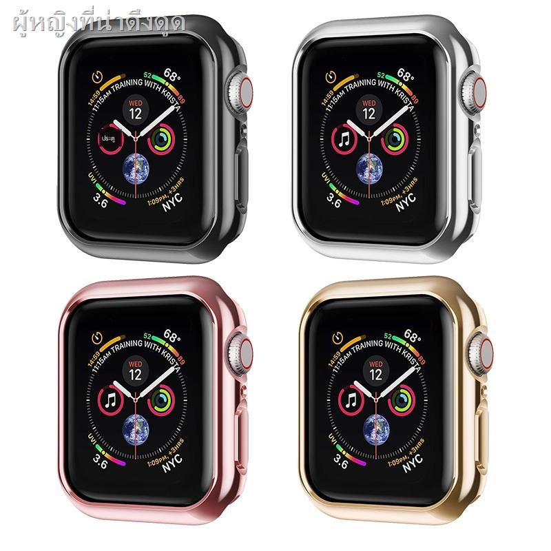Air podsเคสซิลิโคนอ่อนนุ่มสำหรับซิลิโคนครอบใสฮาร์ด caseSuitable for applewatch6 protective shell iwatch5/4/3 generation SE Apple watch cover electroplating half-pack hollow anti-drop and scratch-resistant 40mm44 soft 38 silicone accessories tide five fou