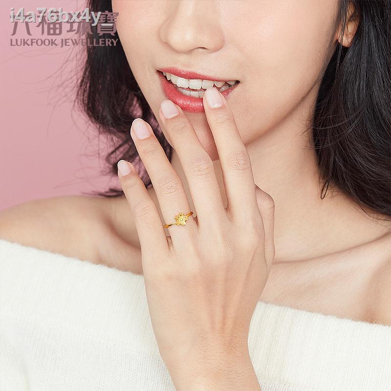 ☏✻●เครื่องประดับ Luk Fook แหวนทองคำแท้ดอกไม้สำหรับผู้หญิงราคาแหวนทองแท้ราคา GMGTBR0010