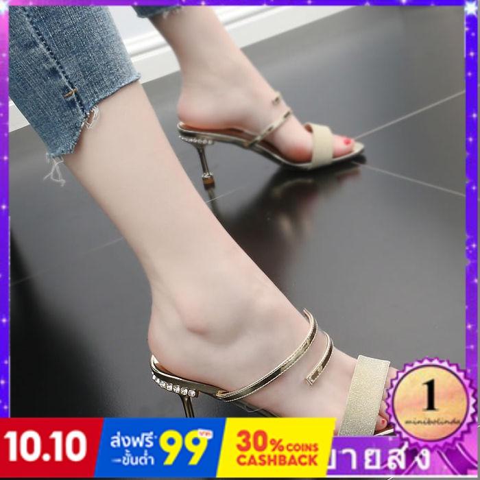 ⭐👠รองเท้าส้นสูง หัวแหลม ส้นเข็ม ใส่สบาย New Fshion รองเท้าคัชชูหัวแหลม  รองเท้าแฟชั่นรองเท้าแตะส้นบางของผู้หญิงและรองเท้