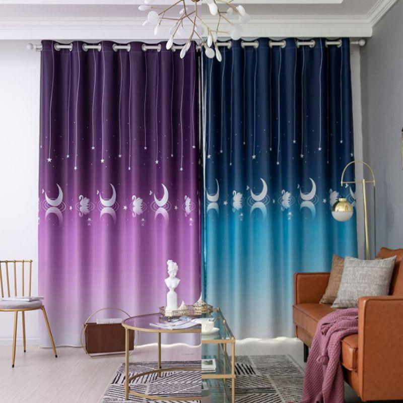 ผ้าม่าน ผ้าม่านประตู หน้าต่าง ผ้าม่านห่วงตาไก่ ผ้าม่านสำเร็จรูป กั้นห้อง กันแสงแดด UV สีทูโทน ลายหงส์ พระจันทร์