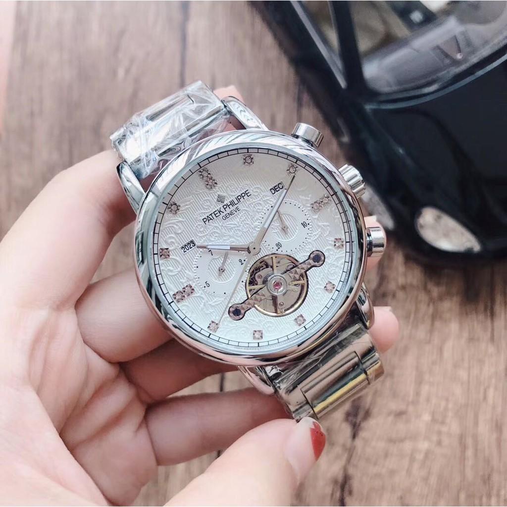 ของแท้ 100% PATEK PHILIPPE นาฬิกาผู้ชายมู่เล่นาฬิกาห้าเข็มกลไกนาฬิกากลไกนาฬิกาอัตโนมัติ