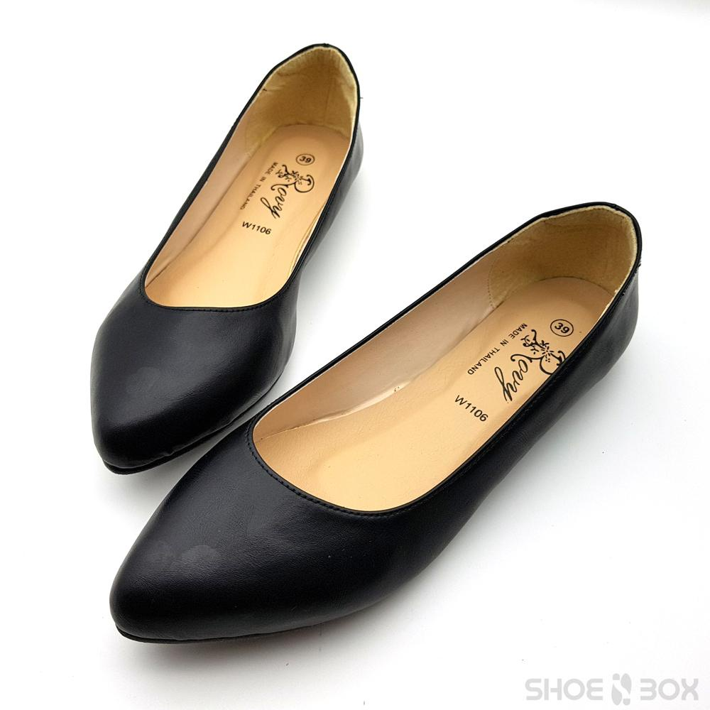 ♦Rovy รองเท้าคัชชูผู้หญิง ส้นแบน รองเท้าทางการ W1106 สีดำ