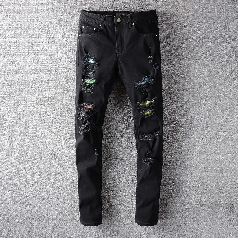 มีความยืดหยุ่นAMIRI Amiriบางกางเกงกางเกงยีนส์โคบาลรูปะปะ amiri jeans