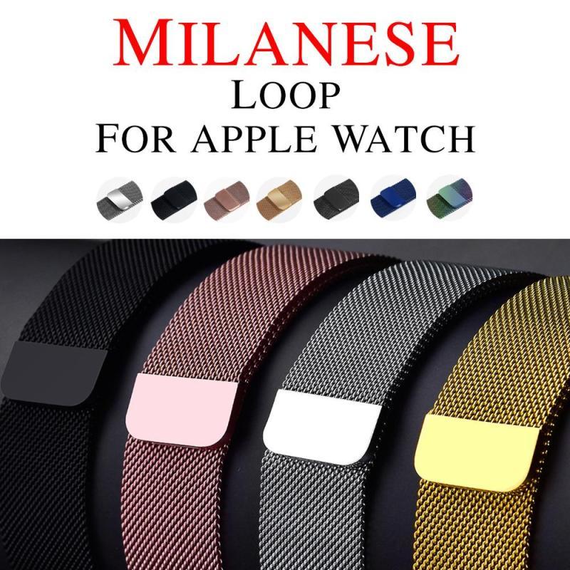 Bermoon สำหรับ Apple Watch BAND STRAP 42 44mm/38 40mm APPLE WATCH 5/4/3/2/1 สแตนเลส Apple Watch Milanese watchband Series 5/4/3/2/1