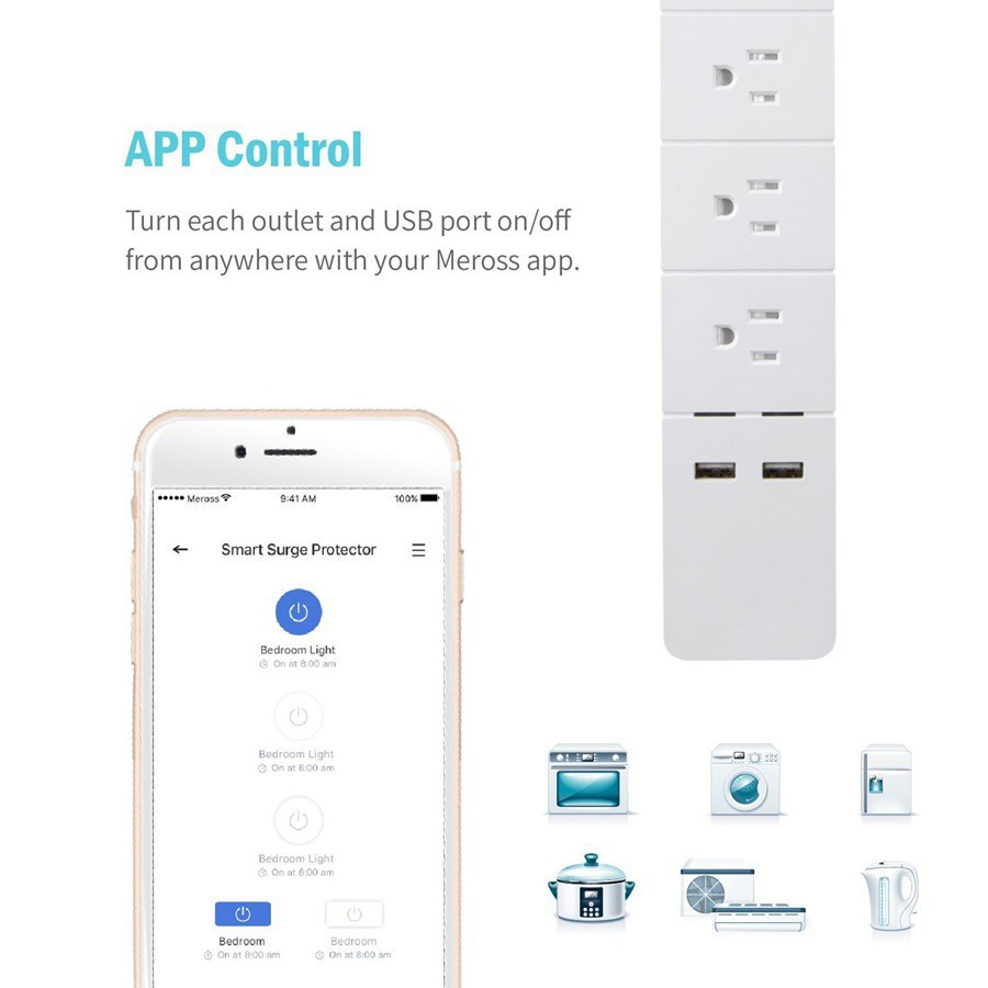 Meross mss 425 Wi-Fi Smart Power Strip ( 3 AC & 2 USB Ports
