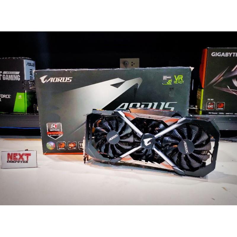 GIGABYTE AURUS GTX1080TI 11G GDDR5X RGB FUTION TOP มือสอง กล่องไม่สวย