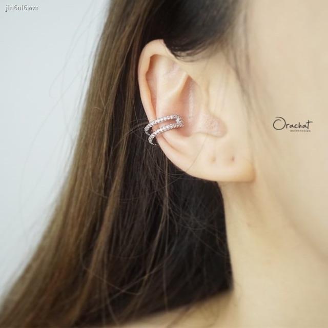 ราคาต่ำสุด✿❈Double lines ear cuff. (ต่างหูแบบเกาะหู งานชุบทองคำขาว เพชร CZ)