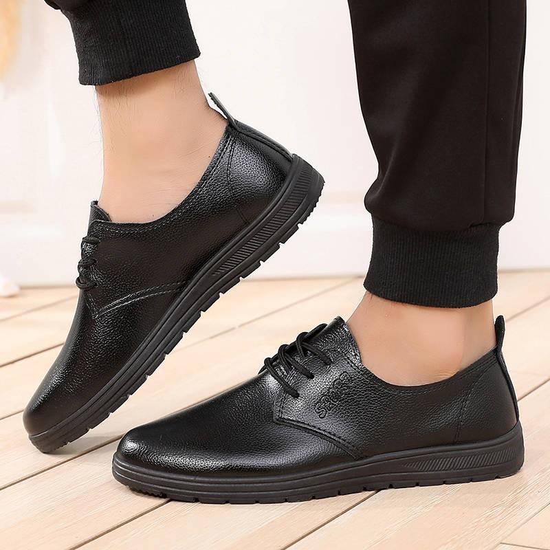รองเท้าชาย รองเท้าคัชชูผู้ชาย ใหม่รองเท้าเชฟผู้ชายรองเท้ากันลื่นกันน้ำและกันน้ำมันห้องครัวโรงแรมรองเท้าหนังสีดำผู้ชายรอง