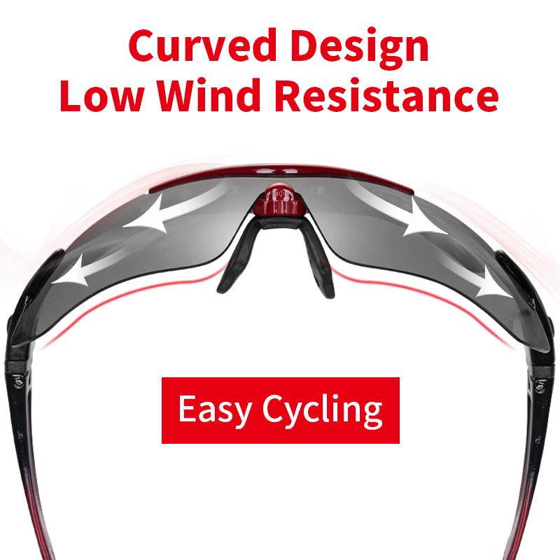 ROCKBROS Cycling Polarized glasses Bike Photochromic Outdoor Sports Sunglasses MTB PC Goggles Eyewear 5/3 Lens Bicycle A