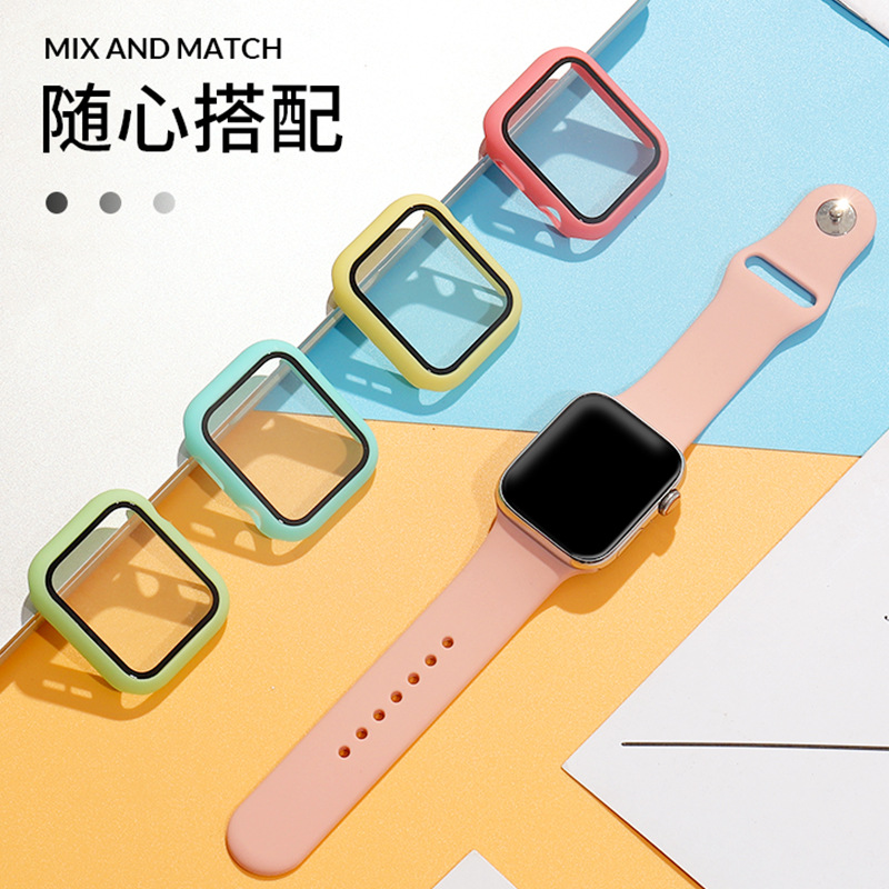 For Apple Watch Series SE6/5/4/3/2/1 38 40 42 44mm PC + Tempered Glass Integrated Case