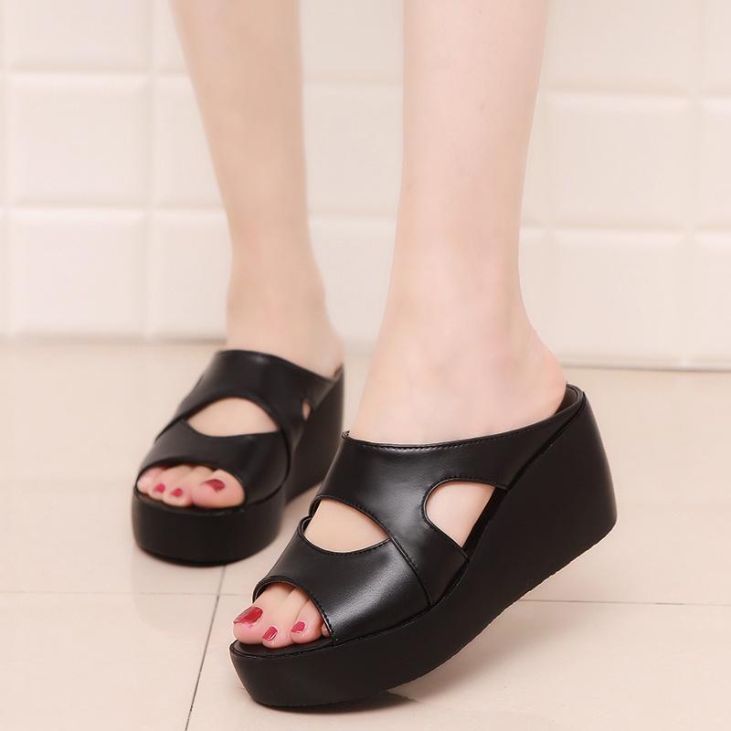 รองเท้า พร้อมส่ง!!! ผู้หญิงรองเท้า ส้นสูง แบบสวม คุุณภาพดี แบบใหม่ผู้หญิง รองเท้าคัชชูแฟชั่น(สีดำ)LTH011-7รองเท้ารัดส้น
