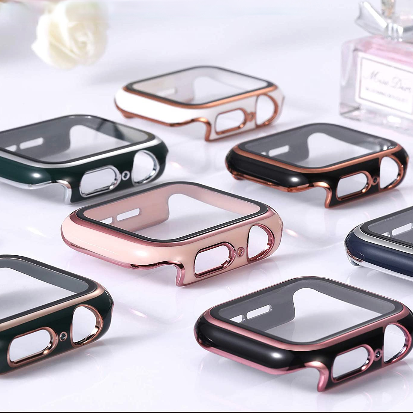 Glass+Case Full Cover Apple Watch Case Series 6 SE 5 4 3 2 iWatch Case Accessor 44mm 40mm 42mm 38mm Protector