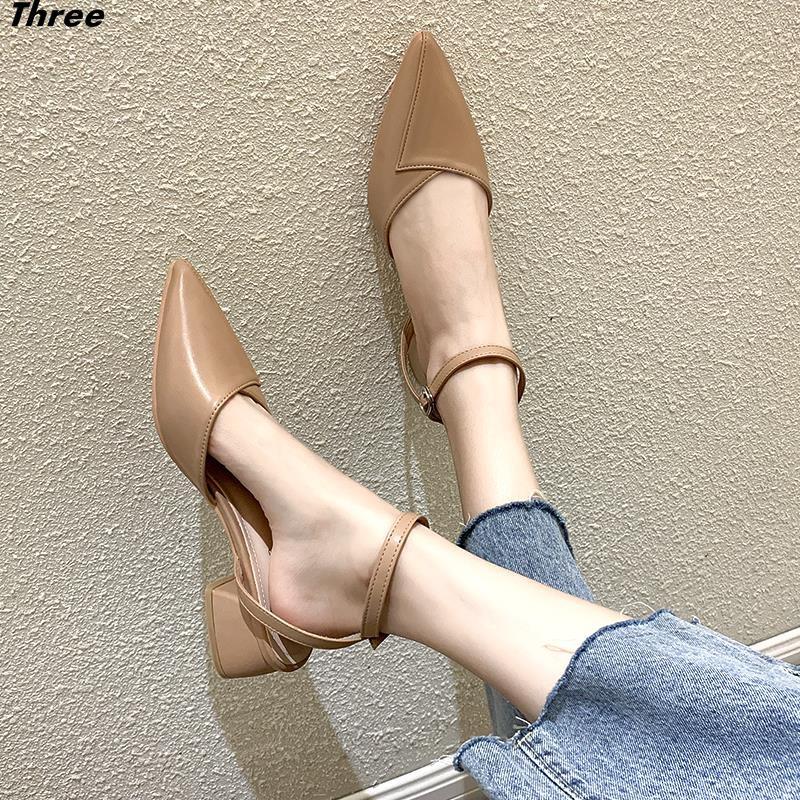 รองเท้าผู้หญิงรองเท้าส้นสูงส้นหนารองเท้าเดี่ยวแฟชั่นผู้หญิงรองเท้าคัชชูหัวแหลมทุกแบบ