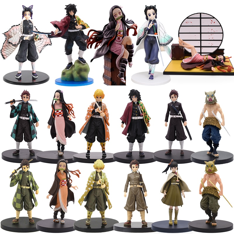 16CM Anime Demon Slayer Kimetsu no Yaiba Figure Kamado Tanjirou Nezuko Zenitsu Giyuu Shinobu PVC Action Figures Model
