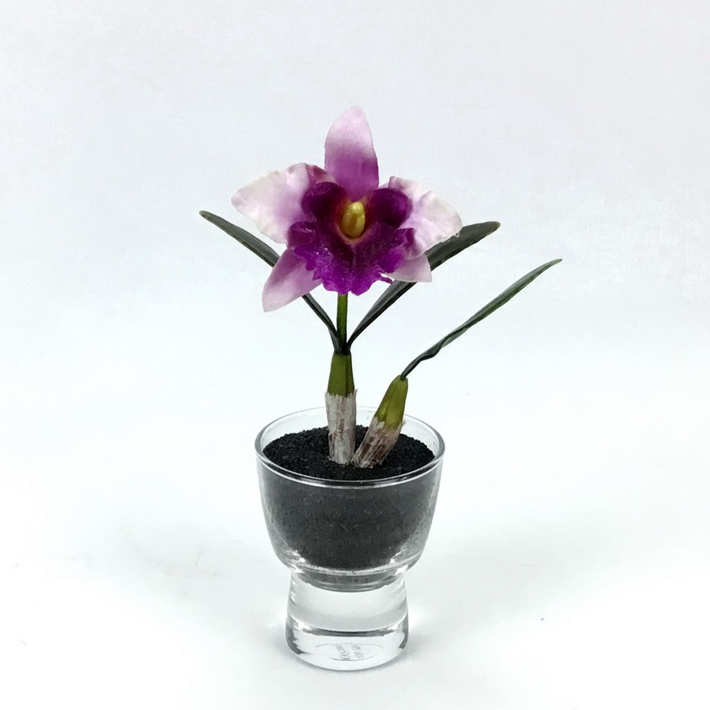 แจกันดอกไม้ประดิษฐ์ขนาดเล็ก ดอกกล้วยไม้แคทลียาพร้อมแจกันแก้ว ตกแต่งโต๊ะ