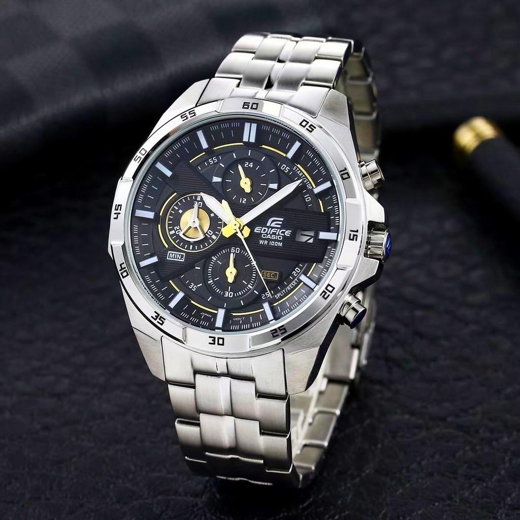 นาฬิกาข้อมือผู้ชาย Casio Edifice แท้เครื่องญี่ปุ่น รับประกัน 1 ปี รุ่นสายสแตนเลส หน้าปัดดำ เข้มๆ Mgwatch