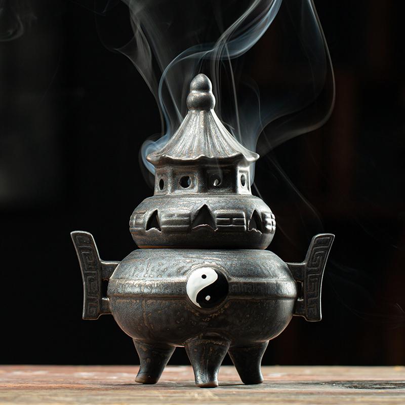 เตาอโรมา CODTai Chiซุบซิบเครื่องหอม สร้างสรรค์เซรามิกไม้จันทน์หอมกลิ่นเตาเตาวัดทองแดงในร่มเครื่องหอมธูปโบราณ