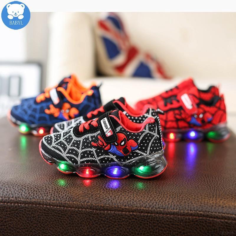 รองเท้าผ้าใบ Spiderman ติดไฟ Led Vel - Cro Gambar สําหรับเด็ก