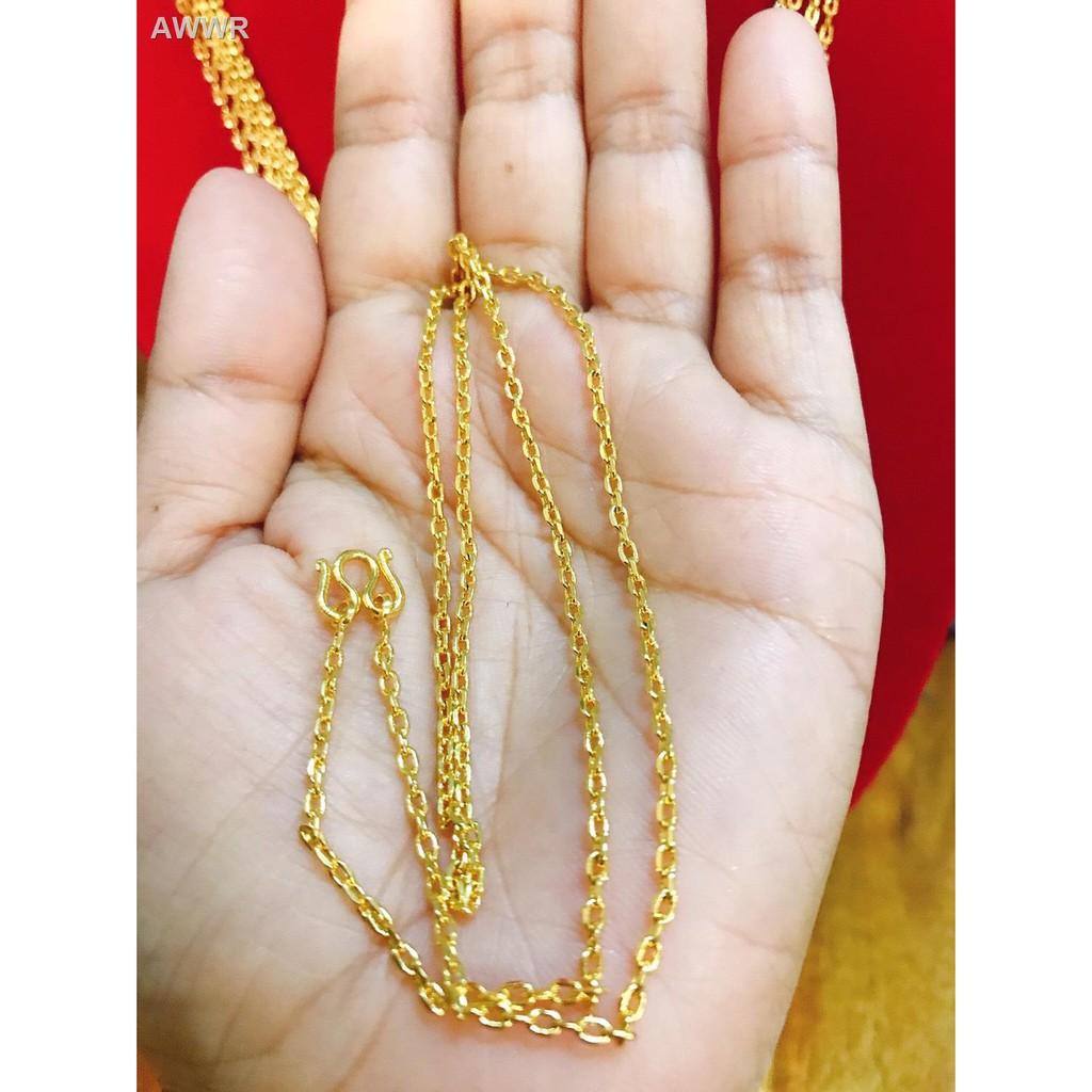 🌷สินค้าคุณภาพดีราคาถูก🌷►✻apata jewelry สร้อยคอลายโซ่ตัดขอบ 1 สลึงยาว 18 นิ้วสร้อยชุบทองแท้ 24k เคลือบแก้วหนาสร้อยทองไ