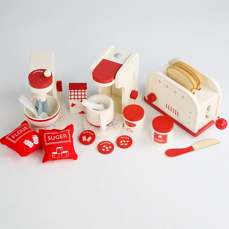 เด็กจำลองเครื่องทำขนมปังเครื่องชงกาแฟเครื่องปั่นผสมเด็กชายและเด็กหญิงครัวเล่นบ้านของเล่น 3P3d