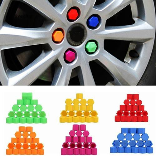 20pcs//set Auto Car Silicone Wheel Lug Nut Bolt Cover Tyre Dust Screw Cap Night Luminous Wheel Nut Protective Cap Wheel Screw Size 17//19//21mm 17mm, Black