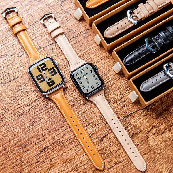 สาย applewatch ใช้ได้กับ Apple Watch AppleWatch หนังสายรัดเอวเล็ก iwatch4 / 5/6 / SE ฤดูใบไม้ร่วงและฤดูหนาวหญิงบาง