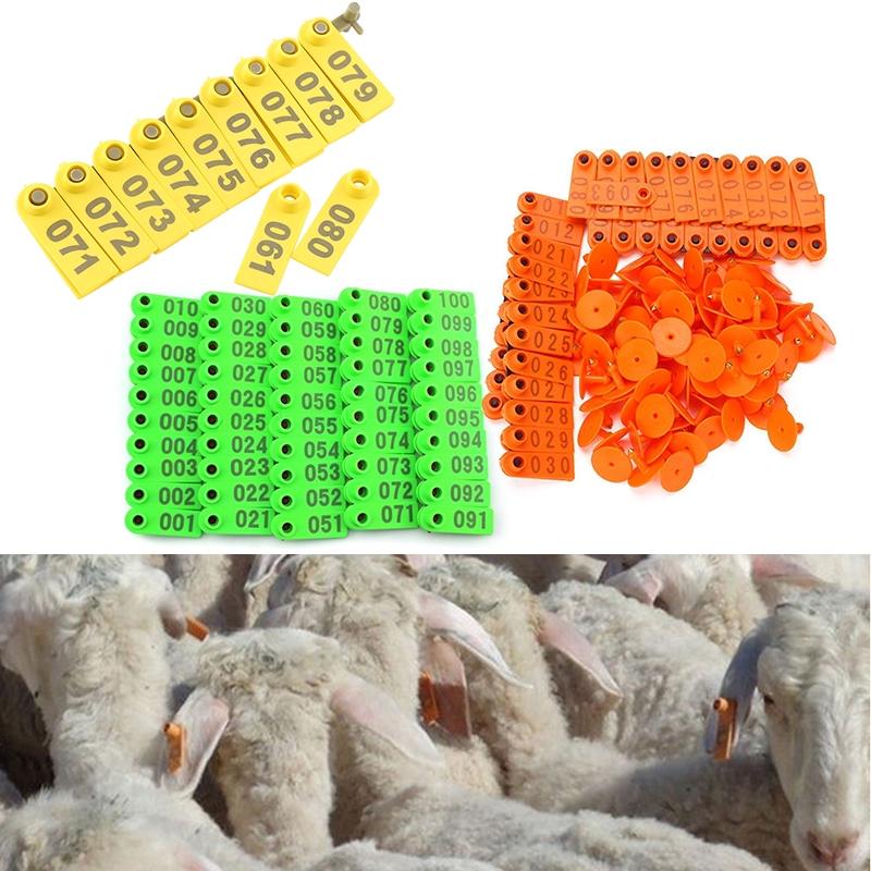 100Pcs//Set Sheep Goat Pig Cattle Cow Livestock Ear Number Tag 001-100 Number JS