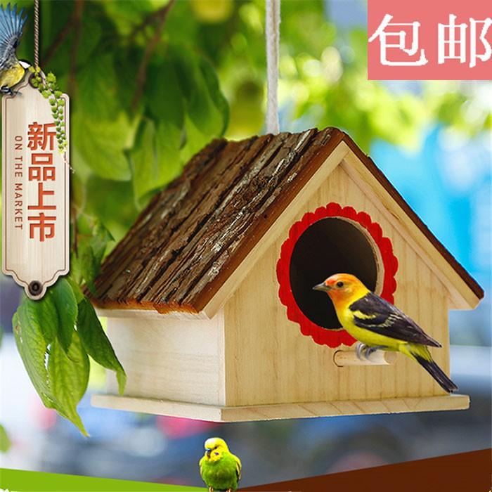 รังนกรังนกนกแก้วไม้เนื้อแข็งกล่องเพาะพันธุ์อบอุ่นกลางแจ้งบ้านรังนก Xuanfeng เสือผิวนกขุนทองบ้านกรงนกขนาดเล็ก