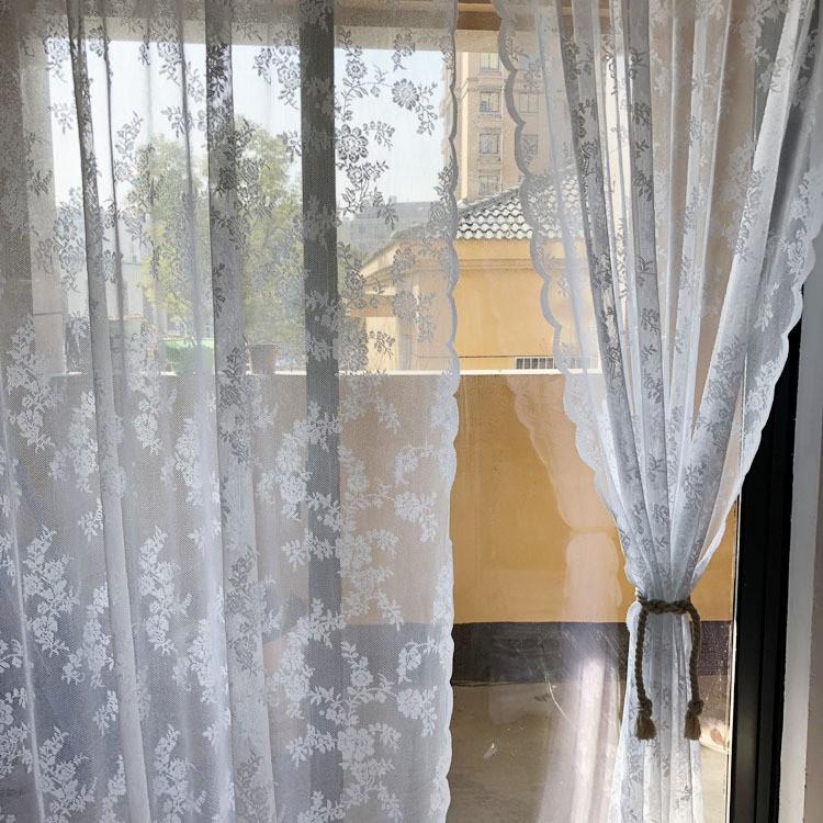 ปักปักหน้าต่างเส้นด้ายเกาหลีพระลูกไม้เส้นด้ายสีขาวหยักตาข่ายสำเร็จรูปผ้าม่านวิปริตหน้าต่าง