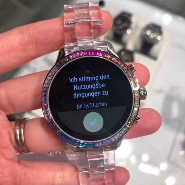 ac50cef731 Runway Heart Rate Acetate and Rainbow Pavé Smartwatch #MKT5065 ...