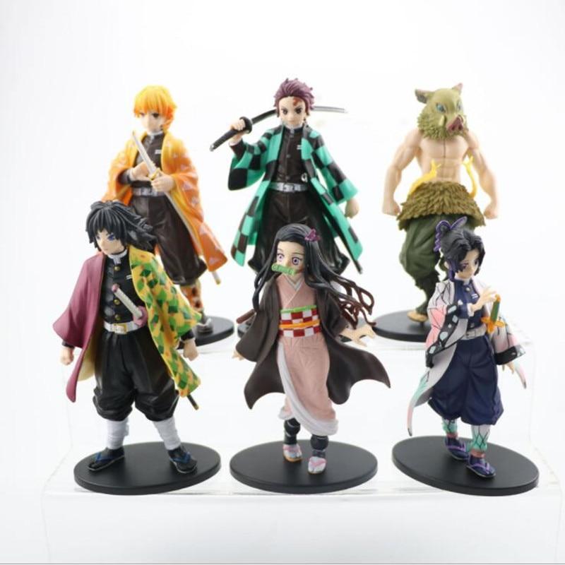 Demon Slayer Kimetsu no Yaiba Nezuko Kyoujurou Tanjirou Inosuke Shinobu Zenitsu Action Figure Anime Figurine Toys 6pcs/s