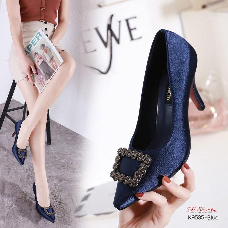 รองเท้าคัชชูส้นสูงหัวแหลม ผ้าซาตินประดับคริสตัล สีน้ำเงิน