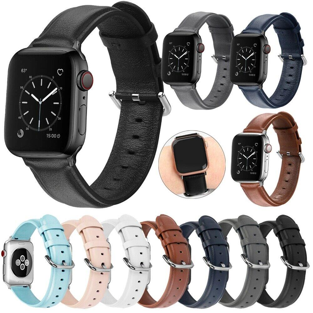 สำหรับ Apple Watch Series 5 4 3 2 1 38/42/40 / 44mm สายหนังแท้สายรัดกีฬา