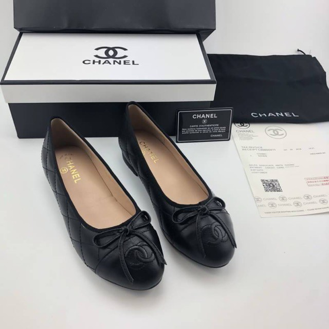 การซื้อของแท้】Chanel Ballet Black Flat Shoes Hi-end หนังแท้💯% รองเท้าคัชชู ชาแนล