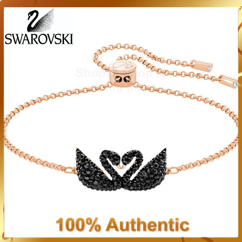 Swarovski Iconic Swan สร้อยข้อมือจี้รูปหงส์สีดําเครื่องประดับ