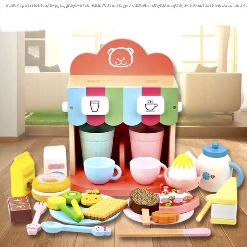 เครื่องทำกาแฟเด็ก ของเล่นเด็ก ของเล่นไม้ (ตัวเครื่องสีชมพู)