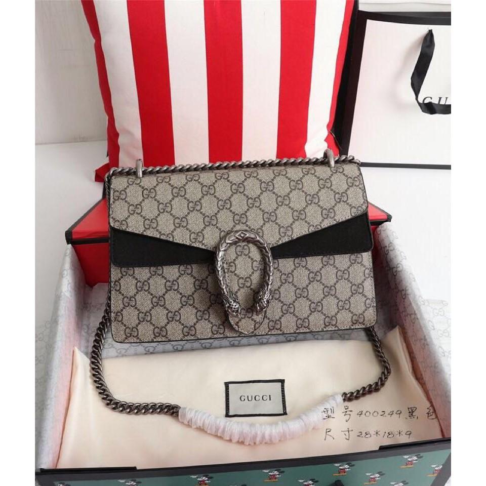 กระเป๋า Y2k-Gucci-400249 Dionysus Dionysus Color Block Shoulder Ladies Bag Black original bag b กระเป๋าสะพายข้าง กระเป๋า