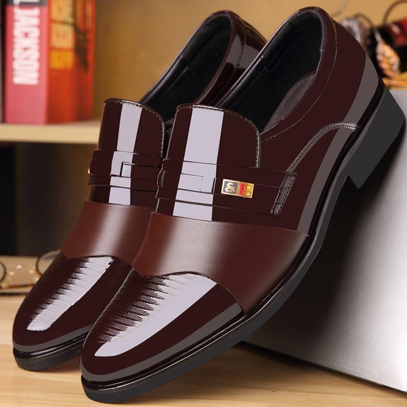ↂ✜รองเท้าหนังรองเท้าหนังผู้ชาย คัชชูหนัง รองเท้าหนังลำลองสีดำรองเท้าหนังแฟชั่น รองเท้าหนังขัดมัน รองเท้าธุรกิจ