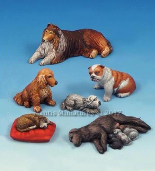 Unpainted Kit 1/35 -Animals Set Dogs and Puppies  figure Historical  Resin Figure miniature garage kit