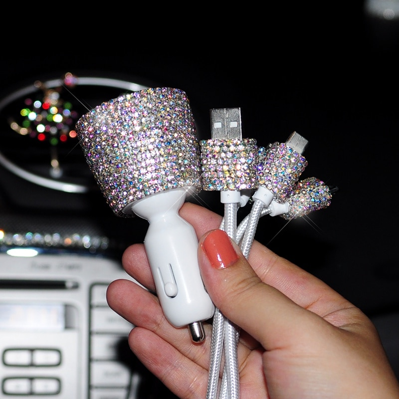 Dual Usb Fast Car Charger 3.1A Car Cigarette Lighter Crystal Diamond Universal Car Phone Holder USB Data Line Voltage Di