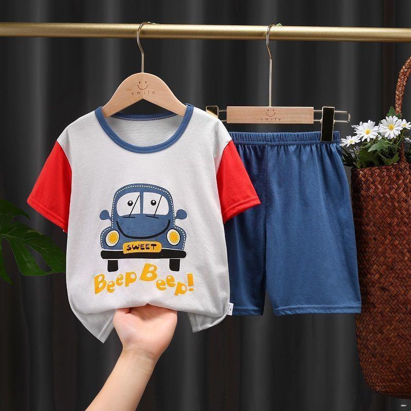 ยางยืดออกกําลังกาย☄❈(ชุดเด็ก)  ชุดสูทเด็กผ้าฝ้ายแขนสั้น, เสื้อยืดเด็กผู้หญิง, กางเกงขาสั้นเด็ก, เสื้อผ้าฤดูร้อนแขนสั้น,
