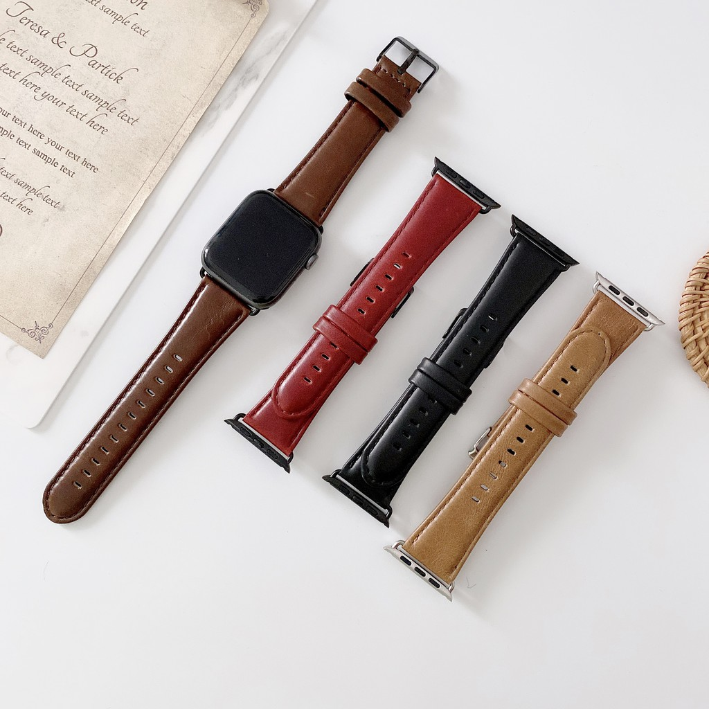 Crazy horse leather apple watch strap สายนาฬิกาหนัง iwatch series SE 6 5 4 3 2 1  Leather watch strap 38 40 42 44mm