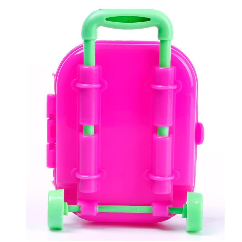 3D กระเป๋าเดินทางล้อลาก ขนาดจิ๋ว ของเล่นสำหรับตุ๊กตา Barbie