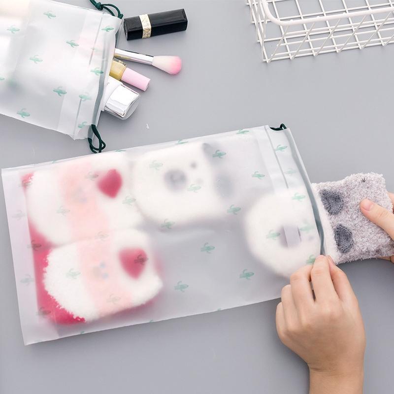 Travel Cactus Cosmetic Bag Plastic Towel Shoes Storage Bag Portable Drawstring Storage Bag