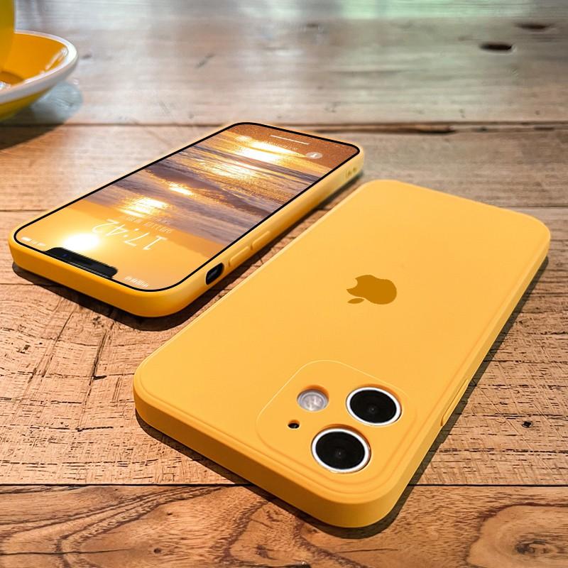 ☜เคสโทรศัพท์ Apple 11 mobile phone case ขอบตรง iphone11promax new camera all-inclusive anti-drop 11pro liquid silicone